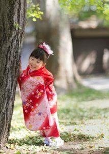 七五三:三歳の撮影:神社境内