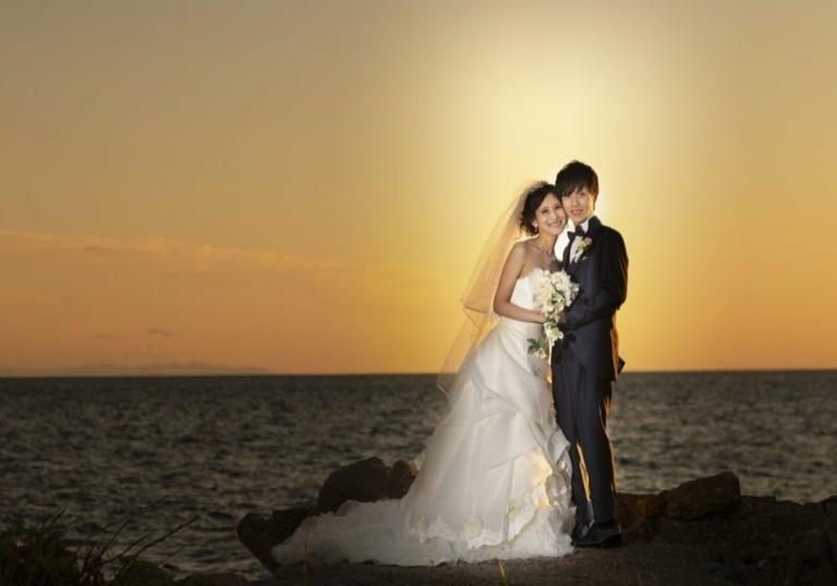ウエディングフォト:函館穴澗海岸:あさかぜ写真館撮影
