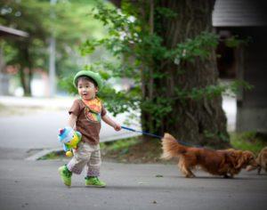 お誕生日with his dogs:亀田八幡宮境内