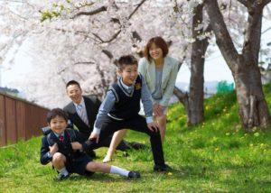 桜の木の下で。小学校入学写真。家族四人。
