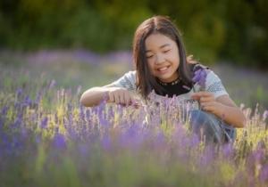 ラベンダーを摘む少女:駒ケ岳ラベンダー畑でのショット